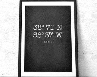 Custom Latitude and Longitude print Forest green wall art House warming gift Personalized home location Forest green print housewarming gift