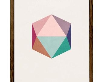 Blush Icosahedron 1. Pink blush print blush wall art blush pink print Geometric print pink Nordic print geometric poster icosahedron print