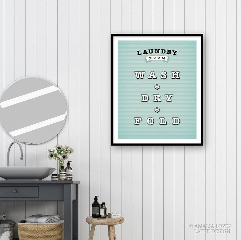 Laundry print Light blue Laundry room Print wash dry fold print Laundery wall Art