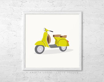 Green vespa print Green nursery art green nursery decor Nursery wall art Green nursery decor Vespa bike print kids room decor kids wall art