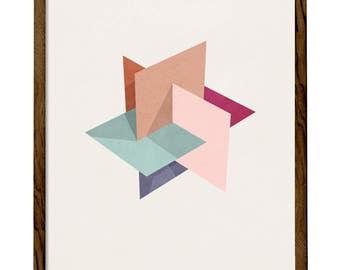 Blush Icosahedron 2. Pink blush print blush wall art blush pink print Geometric print pink Nordic print geometric poster icosahedron print