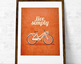 Live simply. Inspirational quote print Inspirational print Quote print Retro print Bike print Burnt orange print. Latte Design UK print