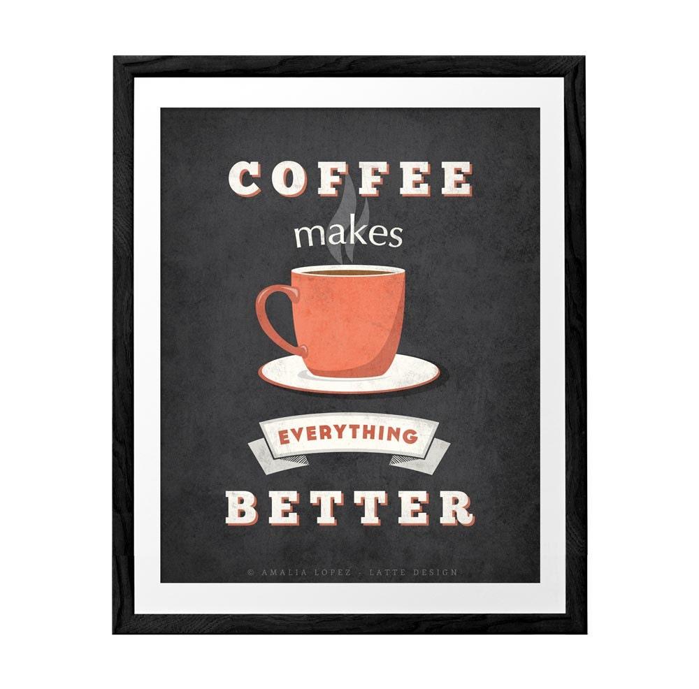Kaffee macht alles mit Kaffee Druck Mint Druck retro Poster | Etsy