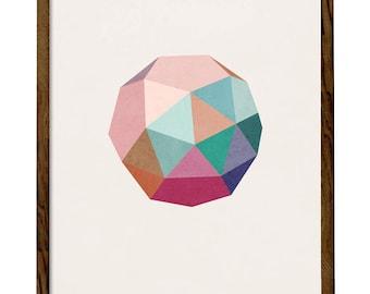 Blush Icosahedron 3. Pink blush print blush wall art blush pink print Geometric print pink Nordic print geometric poster icosahedron print