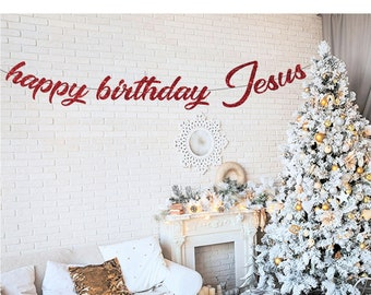 Happy Birthday Jesus Banner Christian Christmas Holiday Decor