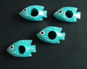 Set of 4 hand painted whimsy  aqua wood fish with white polka dots  napkin holders