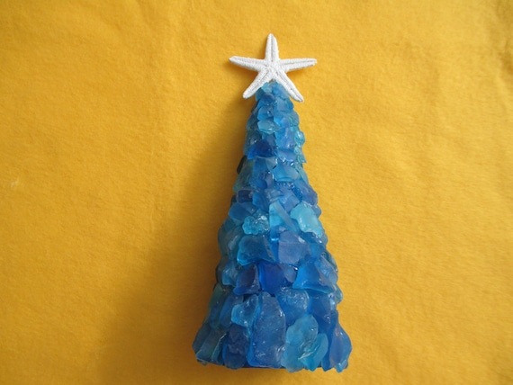 Nautical Christmas Theme.Cobalt And Medium Blue Sea Glass Beach Glass Nautical Christmas Tree For Tabletop Mantle Beach House With White Star Fish Topper