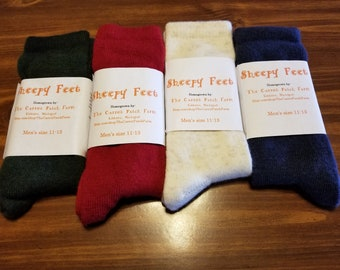 Mens Wool Socks -  Off-White & Red