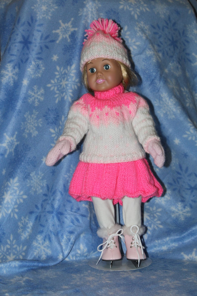 Pink Ice Skater Costume for 18 doll image 0