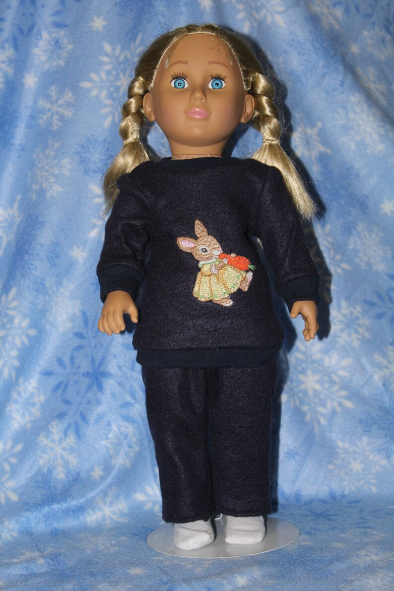 Embroidered rabbit sweatsuit for 18 doll image 0