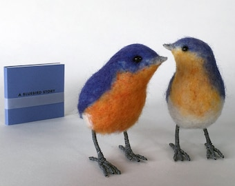 PAIR Needle felted bluebird and book