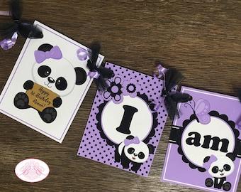 Panda Bear Birthday Party Door Banner Green Boy Girl Polka Dot Black White Butterfly 1st 2nd 3rd 4th 5th Boogie Bear Invitations Robel Theme