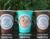 Garden Birds Birthday Party Beverage Cups Paper Girl Coral Teal Birdcage 1st 2nd 3rd 4th 5th 12th 21st Boogie Bear Invitations Coralee Theme