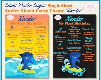 Shark Birthday Party First Birthday Stats Poster Under the sea Shark Birthday Party Stats Poster swim on over take a bite!