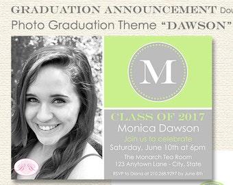 Modern Lime Graduation Thank You Cards High School Grey Green Monogram Initial 2017 2018 2019 Boogie Bear Invitations Dawson Theme Printed