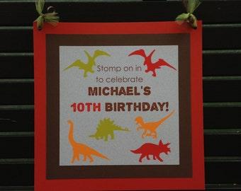 Dinosaur Name Birthday Party Banner Boy Girl Teen Red Footprint Stomp Dino Roar 1st 7th 8th 9th 10th Boogie Bear Invitations Michael Theme
