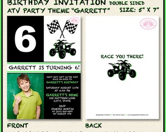 ATV Photo Birthday Party Invitation Boy Girl 4 Wheeler 1st 5th 6th 7th 8th Boogie Bear Invitations Garrett Theme Paperless Printable Printed