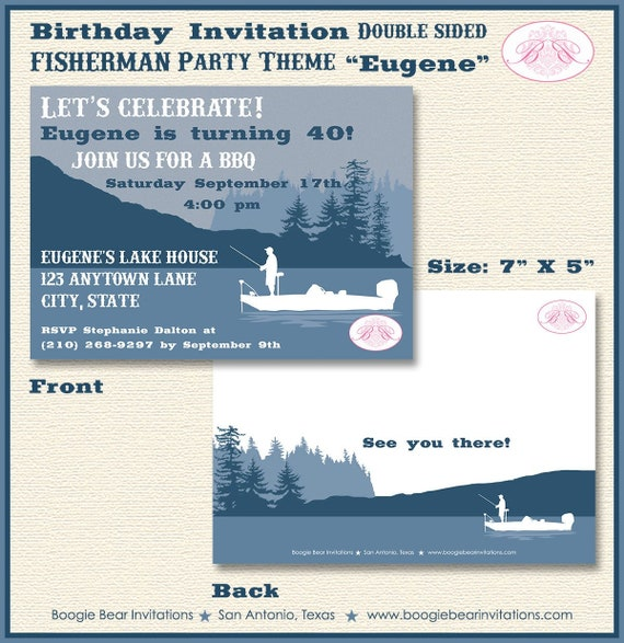 fishing boat birthday party invitation lake boy 30th 40th 50th etsy