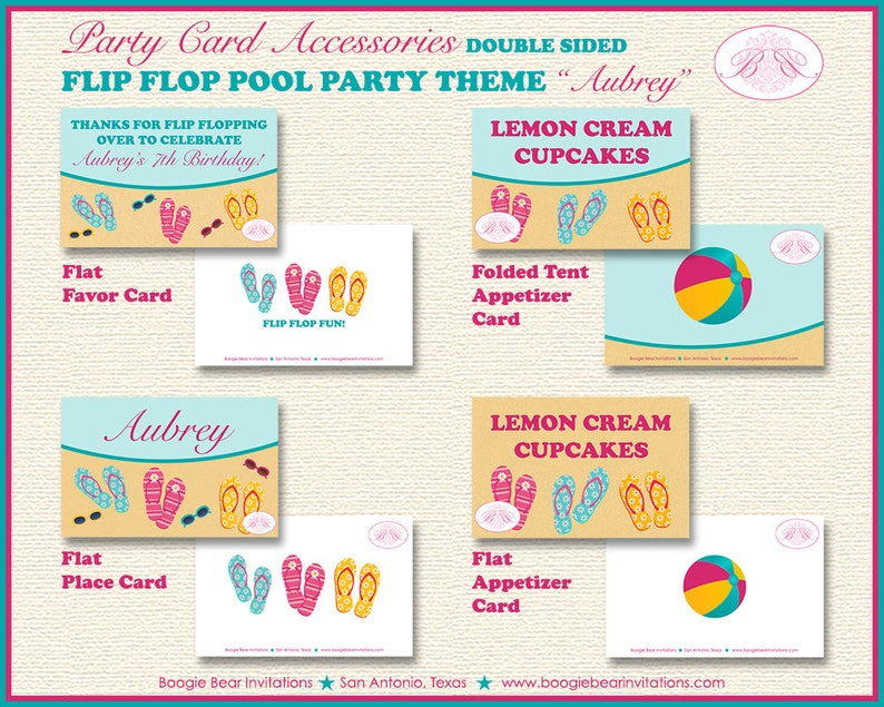 Flip Flop Pool Birthday Favor Party Card Tent Place Food Tag Girl Beach 1st 2nd 3rd 4th 5th 6th 7th 8th Boogie Bear Invitations Aubrey Theme