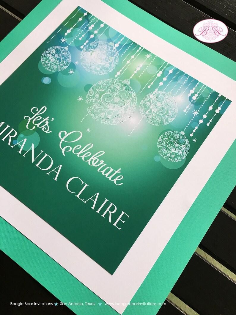 Sweet 16 Happy Birthday Door Banner Green Glowing Ornaments Blue Aqua Turquoise 21st 16th 30th 40th Boogie Bear Invitations Miranda Theme