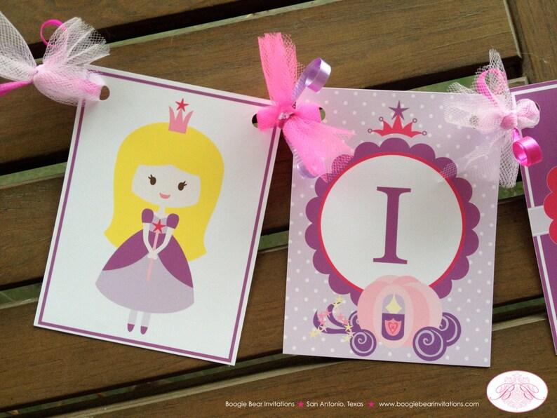 Princess I am 1 Birthday Highchair Banner Magic Fairy Girl Purple Pink Royal Star Crown 1st 2nd 3rd 4th Boogie Bear Invitations Lauren Theme