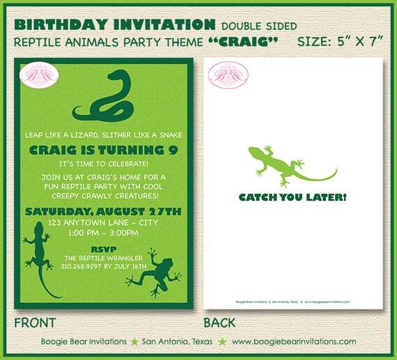 Reptile Bug Birthday Party Invitation Snake Frog Lizard Boy Etsy
