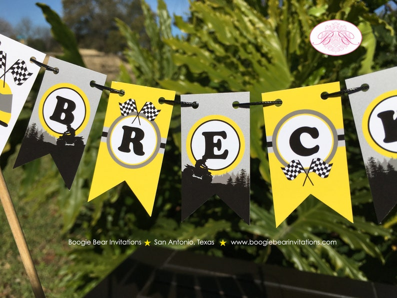 ATV Birthday Party Pennant Cake Banner Topper Flag Yellow Black 1st 2nd 3rd 4th 5th 6th 7th 8th 9th 10th Boogie Bear Invitations Breck Theme