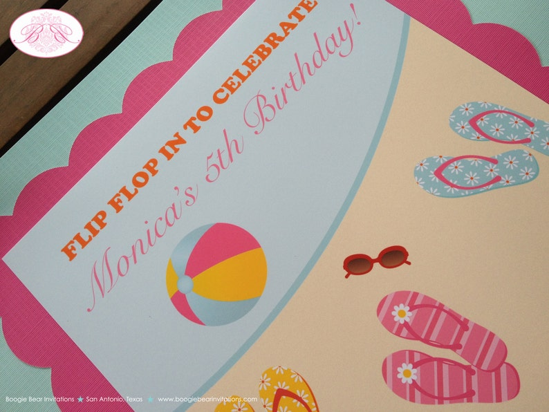 Flip Flop Happy Birthday Party Banner Pool Pink Beach Swimming Girl 1st 2nd 3rd 4th 5th 6th 7th 8th 9th Boogie Bear Invitations Jenna Theme