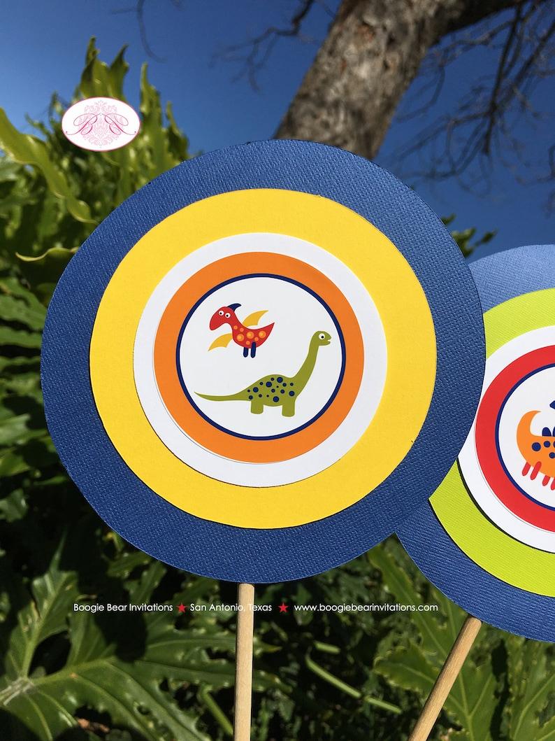 Little Dinosaur Birthday Party Centerpiece Sticks Girl Boy Orange Yellow Blue Red Green 1st 2nd 3rd 4th Boogie Bear Invitations Leland Theme