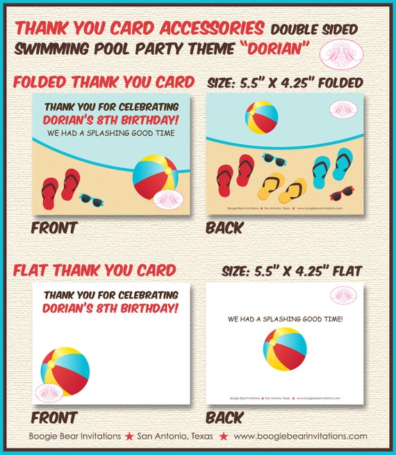 Swimming Pool Party Name Banner Birthday Boy Girl 1st 2nd 3rd 4th 5th 6th 7th 8th 9th Boogie Bear Invitations Dorian Theme