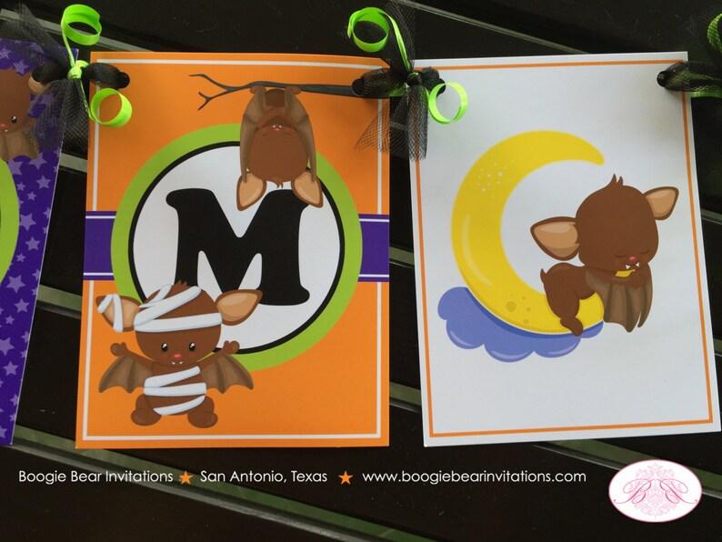 Halloween Bat Birthday Party Name Banner Little Girl Boy Fall Pumpkin Full Moon Stars Mummy 1st 2nd 3rd Boogie Bear Invitations Bram Theme