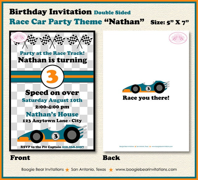 race car birthday party invitation orange teal 1st 2nd 3rd 4th 5th