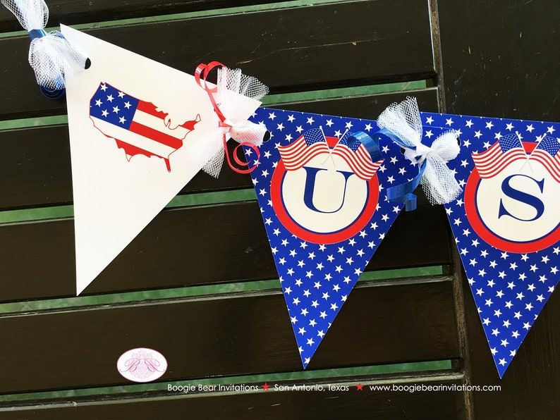 4th of July Independence Day Pennant I am 1 Banner Party Highchair Red White Blue Flag Stars Stripes Boogie Bear Invitations Hamilton Theme
