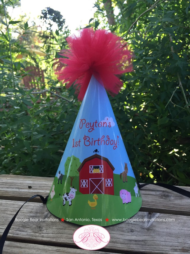 Barn Farm Animals Birthday Party Hat Red Green Country Pom Honoree Girl Boy 1st 2nd 3rd