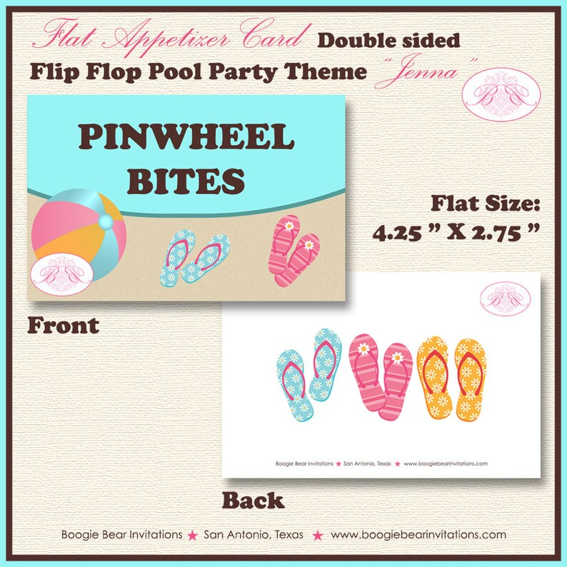 Flip Flop Pool Birthday Favor Party Card Tent Place Food Girl Beach 1st 2nd 3rd 4th 5th 6th 7th 8th 9th Boogie Bear Invitations Jenna Theme