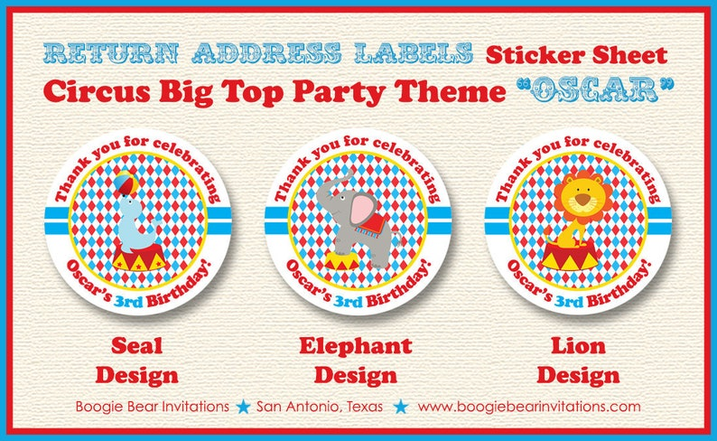Circus Birthday Party Stickers Circle Sheet Big Top 3 Ring Seal Lion Elephant Boy Girl 1st 2nd 3rd 4th Boogie Bear Invitations Oscar Theme