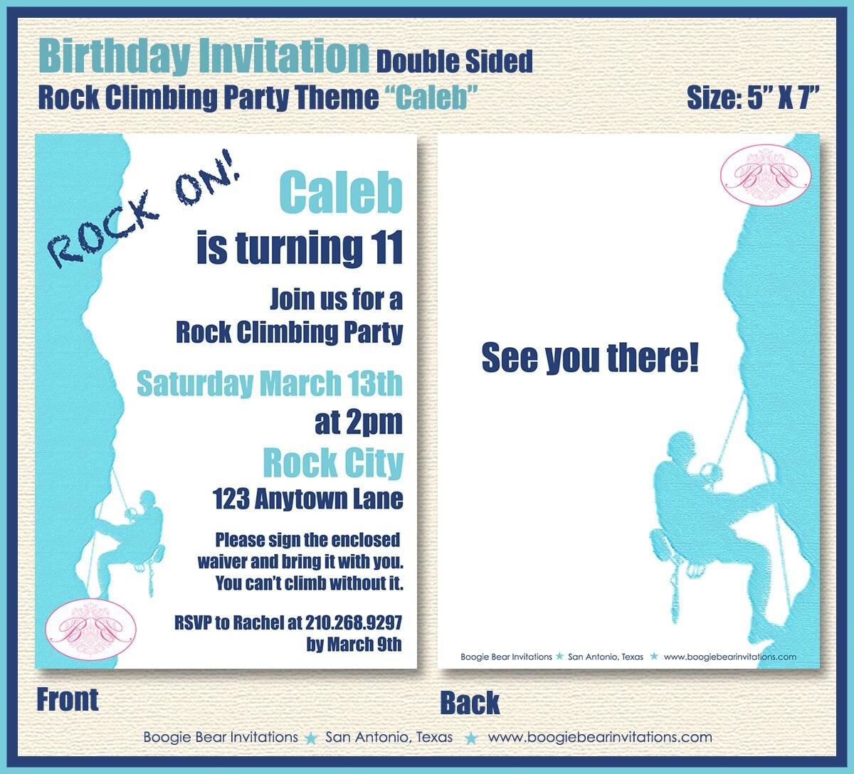 Rock Mountain Climbing Party Invitation Birthday Blue 8th 9th | Etsy