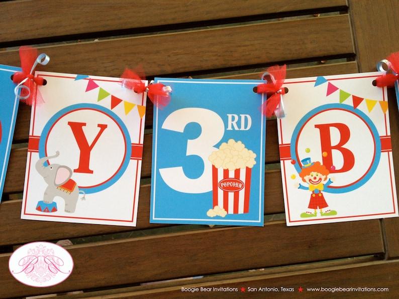 Circus Animals Birthday Party Banner Happy Tiger Elephant Clown Big Top Red Blue Boy Girl 1st 3rd Retro Boogie Bear Invitations Oscar Theme