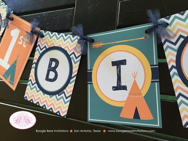Teepee Arrow Happy Birthday Party Banner Chevron Orange Navy Blue Green Yellow Boy Girl 1st 2nd 3rd 4th Boogie Bear Invitations Tate Theme