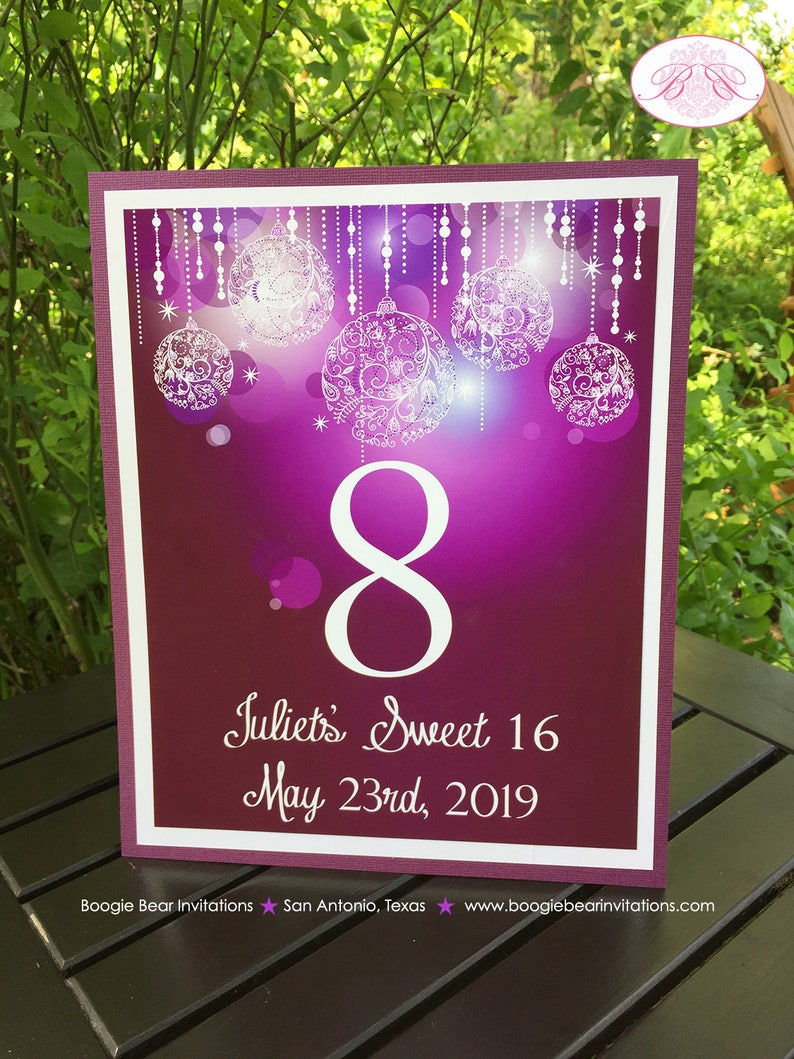 Sweet 16 Table Number Sign Card Birthday Party Purple Glowing Ornaments Winter Christmas Star 16th 21st Boogie Bear Invitations Juliet Theme