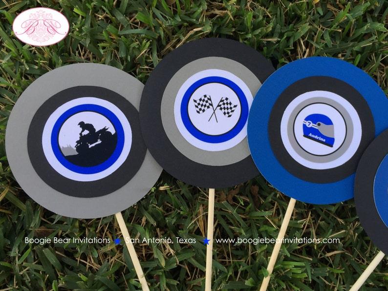 ATV Birthday Party Centerpiece Stick Set Blue Black Boy Girl 1st 2nd 3rd 4th 5th 6th 7th 8th 9th 10th Boogie Bear Invitations Audrina Theme