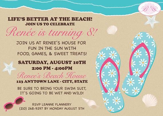 Blue Flip Flop Beach Pool Swimming Theme Birthday Party Invitations