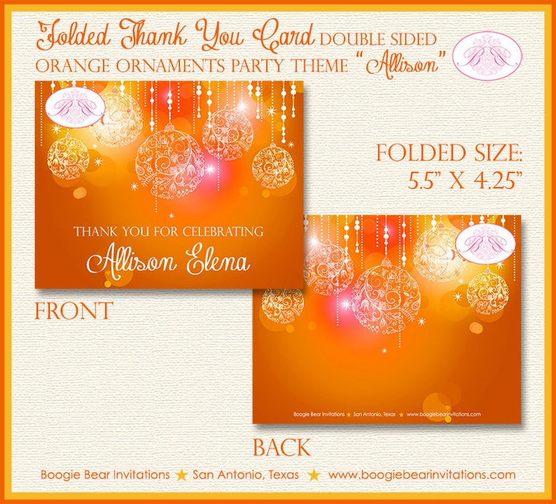 Summer Nights Party Thank You Cards Orange Glowing Ornaments Birthday Sweet 16 16th 21st Dance Boogie Bear Invitations Allison Theme Printed
