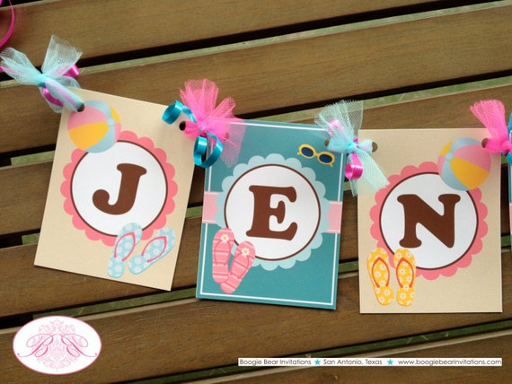 Flip Flop Pool Birthday Party Banner Small Name Age Beach Luau