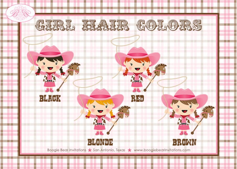 Pink Cowgirl Birthday Party Banner Hat Girl Horse Cow Girl Hat Small Name Age 1st 2nd 3rd 4th 5th 6th Boogie Bear Invitations Olivia Theme