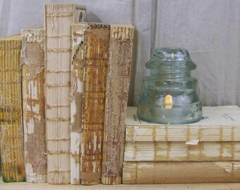 Antique Lot Raw Unbound Decorative Book Collection 10 Rustic Uncovered Books ~ Home Decor Wedding Centerpieces Farmhouse