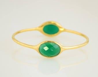 Emerald Green Bangle, Gems Bangle Bracelet, Christmas Gift, Birthstone Bangle, May Birthstone, Designer Bangle, Stackable Two stone Bangles