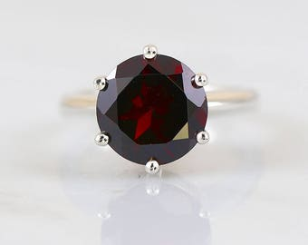 Round Prong Ring, Garnet Ring, January birthstone, 925 sterling silver,Maroon Red colored gemstone, Solitaire Ring, Prongs setting ring