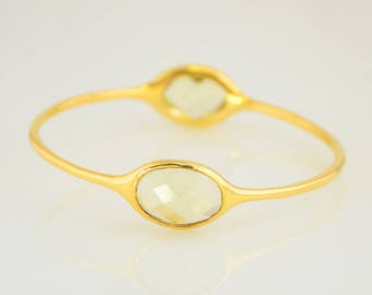 Lemon Quartz Bangle, Gems Bangle Bracelet, Christmas Gift, Birthstone Bangle, Birthstone Bracelet, Designer Bangle, Two stone Bangles