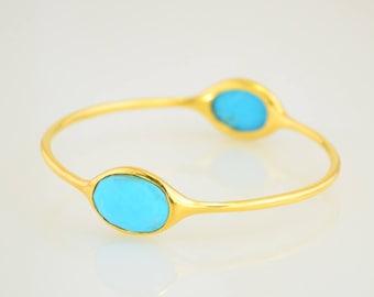 Turquoise Bangle, Turquoise Bracelet, Christmas Gift, December Birthstone, Birthstone Bracelet, Designer Bangle, Two stone Bangles